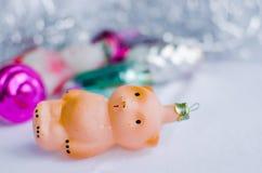 Плюшевый медвежонок - винтажные орнаменты рождества Стоковые Фото