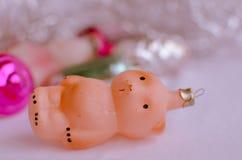 Плюшевый медвежонок - винтажные орнаменты рождества Стоковое Изображение RF