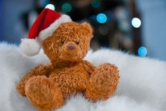 Плюшевый медвежонок в шляпе рождества Стоковое фото RF
