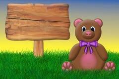 Плюшевый медвежонок и знак Стоковая Фотография RF