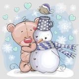 Плюшевый медвежонок и снеговик бесплатная иллюстрация