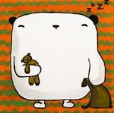 Плюшевый медвежонок иллюстрации акриловый белый с подушкой Стоковое Изображение