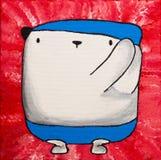 Плюшевый медвежонок масла искусства белый в костюме заплывания Стоковое Изображение
