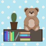 Плюшевый медвежонок на книжных полках Стоковое Изображение