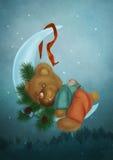 Плюшевый медвежонок на луне Стоковые Изображения RF