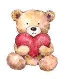 Плюшевый медвежонок дня валентинок держа большую руку акварели сердца нарисованный Стоковое Изображение RF