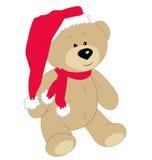 Плюшевый медвежонок рождества на белой предпосылке Стоковые Изображения RF