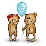 Плюшевый медвежонок с воздушным шаром Иллюстрация вектора