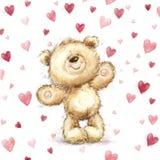 Плюшевый медвежонок с красными сердцами Поздравительная открытка Валентайн Дизайн влюбленности Любовь иллюстрация штока