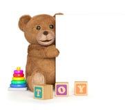 Плюшевый медвежонок с панелью Стоковые Фотографии RF