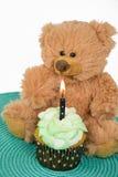 Плюшевый медвежонок с пирожным дня рождения стоковые изображения