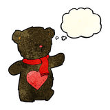 плюшевый медвежонок шаржа белый с сердцем влюбленности с пузырем мысли Стоковое Изображение
