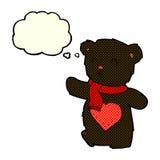 плюшевый медвежонок шаржа белый с сердцем влюбленности с пузырем мысли Стоковые Изображения