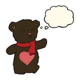 плюшевый медвежонок шаржа белый с сердцем влюбленности с пузырем мысли Стоковая Фотография RF