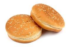 Плюшка гамбургера на белой предпосылке Стоковое Изображение RF