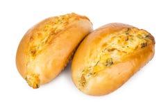 2 плюшки при сыр и чеснок изолированные на белизне Стоковые Фотографии RF
