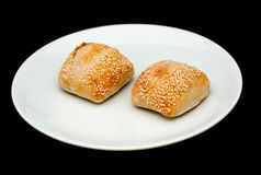 2 плюшки сандвича с сезамом Стоковое Изображение RF