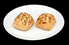 2 плюшки сандвича с семенами тыквы Стоковая Фотография