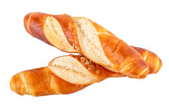 Плюшки свертывают изолированный хлеб кренов отзола типичный немецкий на белизне Стоковое фото RF