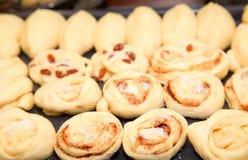 Плюшки с изюминкой и циннамоном перед печь, частью большого Стоковое Фото