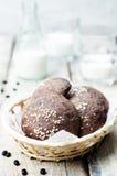 Плюшки черных фасолей с семенами сезама Стоковая Фотография RF