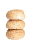 Плюшки для завтрака взбрызнутого при семена сезама изолированные на белизне Стоковая Фотография RF
