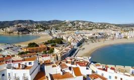 2 пляжа в Peniscola, Castellon, Испании Стоковые Изображения