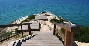 пляжа дня море вниз пустое солнечное к Стоковое Фото