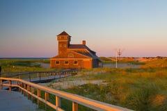 Пляжный домик на треске накидки, Массачусетсе, США Стоковое Изображение