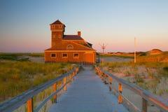 Пляжный домик на треске накидки, Массачусетсе, США Стоковое Изображение RF