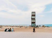 Пляж Барселоны Barceloneta Стоковая Фотография