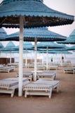 Пляж вечера с парасолями и loungers солнца дальше Стоковые Изображения RF