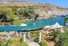 Пляж внутри термальные весны Kallithea Остров Родоса Греция Стоковая Фотография RF