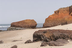 Пляж в Гамбии стоковые изображения