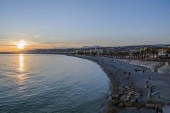 Пляж в городе славного Стоковая Фотография