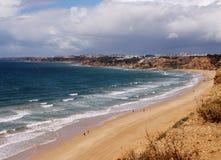 Пляж в области Алгарве Португалии Люди плавая и занимаясь серфингом Сосны на переднем плане взгляд сверху Стоковые Фотографии RF