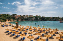 Пляж в Порту Cristo на Мальорке, Балеарских островах, Испании стоковые фото