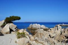 Пляж в Сардинии, Италии Стоковые Изображения RF