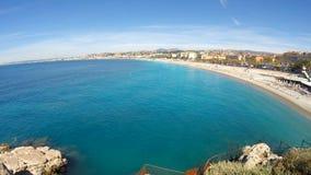 Пляж в славном, французская ривьера видеоматериал