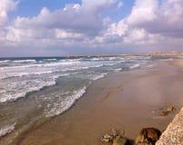 Пляж в Тель-Авив, Израиле Стоковые Изображения