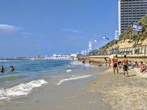 Пляж в Тель-Авив Стоковые Фото