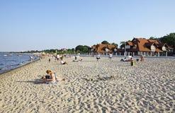 Пляж в Sopot, Балтийском море, Польше стоковое изображение