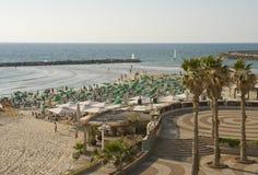 Пляж города в городе Тель-Авив Израиля Стоковое Фото
