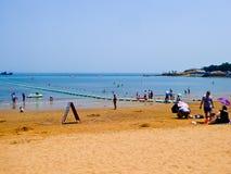 Пляж города Qingdao купая Стоковые Изображения RF