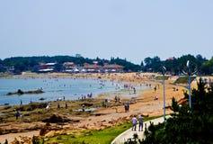 Пляж города Qingdao купая Стоковые Фото