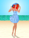 Пляж, девушка, sundress Стоковые Изображения