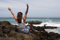 Пляж ее счастливое место Стоковое Изображение