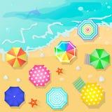 Пляж лета в плоском стиле дизайна обстреливайте полотенце Стоковое Фото