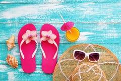 Пляж лета, комплект аксессуаров лета Стоковая Фотография RF
