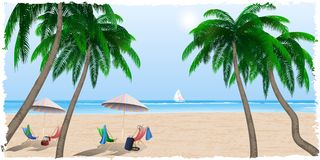 Пляж лета морем, океаном Стоковое Изображение